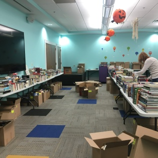 Setting up for the Used Book Sale